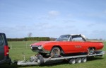 A Ford Thunderbird convertible being transported from Southampton Docks to Littlehampton. We have a 6 ton electric winch on the front of our trailers so we can load non-runners. - click to enlarge
