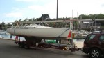 A Beneteaux First class 8 yacht, loaded in Brittany,France and towed back to Thornham Marina - click to enlarge